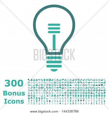 Lamp Bulb icon with 300 bonus icons. Vector illustration style is flat iconic bicolor symbols, cobalt and cyan colors, white background.