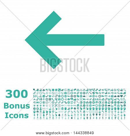 Left Arrow icon with 300 bonus icons. Vector illustration style is flat iconic bicolor symbols, cobalt and cyan colors, white background.