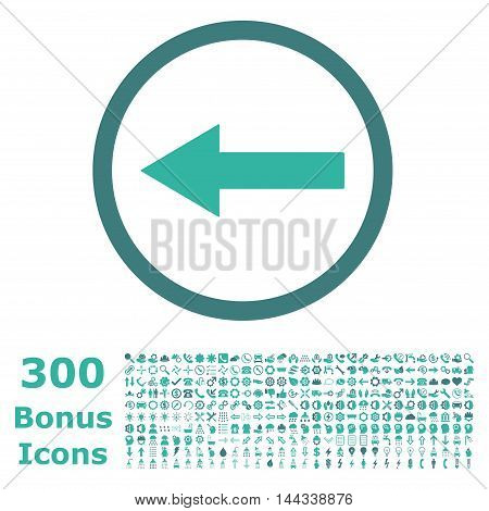 Left Rounded Arrow icon with 300 bonus icons. Vector illustration style is flat iconic bicolor symbols, cobalt and cyan colors, white background.