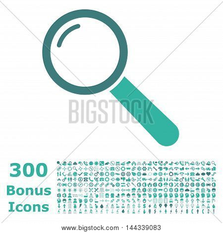 Magnifier icon with 300 bonus icons. Vector illustration style is flat iconic bicolor symbols, cobalt and cyan colors, white background.