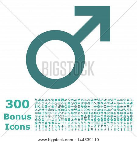 Male Symbol icon with 300 bonus icons. Vector illustration style is flat iconic bicolor symbols, cobalt and cyan colors, white background.