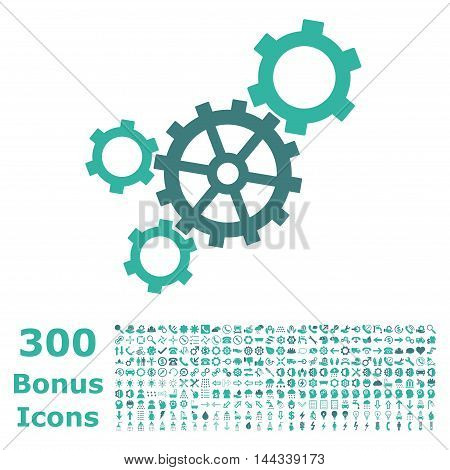 Mechanism icon with 300 bonus icons. Vector illustration style is flat iconic bicolor symbols, cobalt and cyan colors, white background.