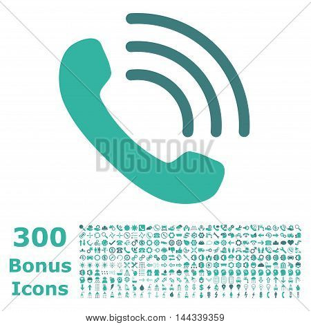 Phone Call icon with 300 bonus icons. Vector illustration style is flat iconic bicolor symbols, cobalt and cyan colors, white background.
