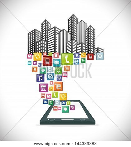 smartphone city mobile apps application online icon set. Colorful and flat design. Vector illustration