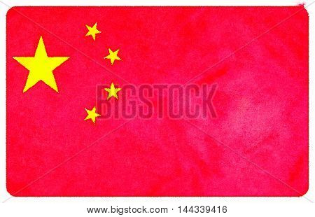Digital watercolor painting of a Chinese flag.