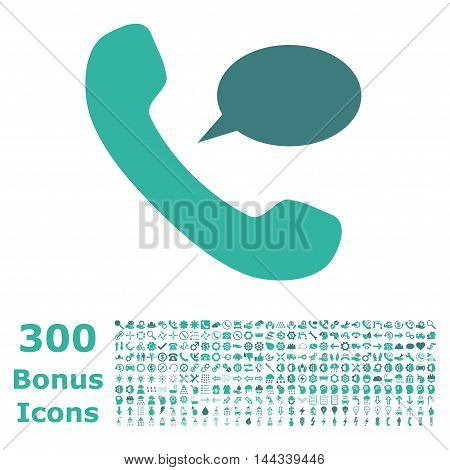Phone Message icon with 300 bonus icons. Vector illustration style is flat iconic bicolor symbols, cobalt and cyan colors, white background.