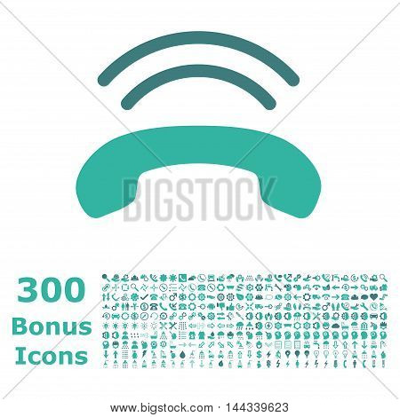 Phone Ring icon with 300 bonus icons. Vector illustration style is flat iconic bicolor symbols, cobalt and cyan colors, white background.