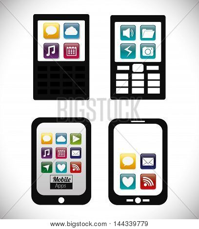 smartphone cellphone mobile apps application online icon set. Colorful and flat design. Vector illustration