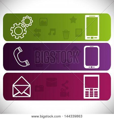 smartphone envelope phone gear mobile apps application online icon set. Colorful and flat design. Vector illustration