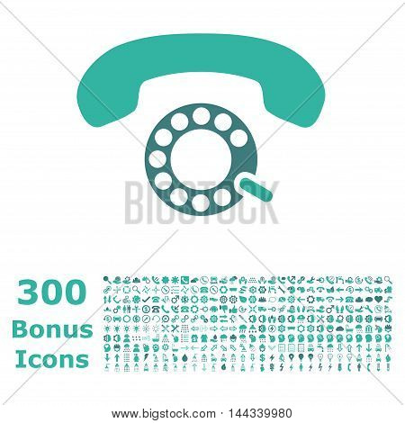 Pulse Dialing icon with 300 bonus icons. Vector illustration style is flat iconic bicolor symbols, cobalt and cyan colors, white background.