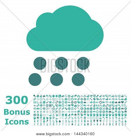 Rain Cloud icon with 300 bonus icons. Vector illustration style is flat iconic bicolor symbols, cobalt and cyan colors, white background.
