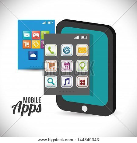 tablet mobile apps application online icon set. Colorful and flat design. Vector illustration