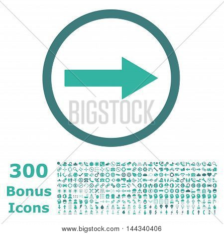 Right Rounded Arrow icon with 300 bonus icons. Vector illustration style is flat iconic bicolor symbols, cobalt and cyan colors, white background.