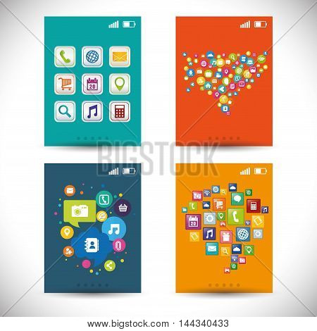 wallpaper mobile apps application online icon set. Colorful and flat design. Vector illustration