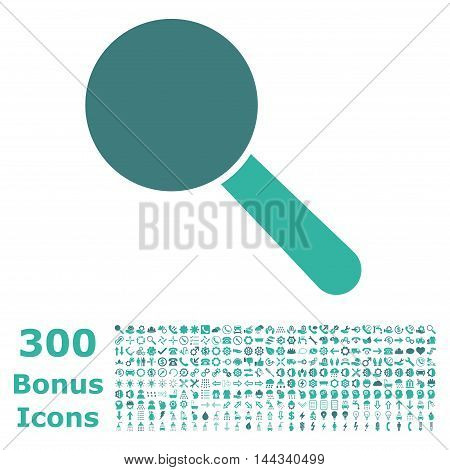 Search Tool icon with 300 bonus icons. Vector illustration style is flat iconic bicolor symbols, cobalt and cyan colors, white background.
