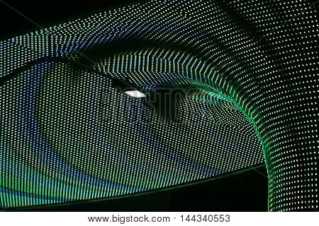 LAS VEGAS, USA - DECEMBER 23: A detail of the neon-lit lights show above the entrance and facade of the hotel and casino complex The LINQ on Las Vegas Boulevard on December 23, 2015 in Las Vegas.