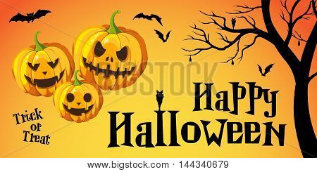 Halloween Concept Banner and greeting card with flat Icon set on Orange Textured Backdrop. Vector Flat Illustration. Halloween Signs and Symbols. Trick or Treat. With pumpkin, bat, and tree.