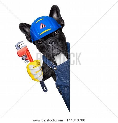 Plumber Dog With  Wrench