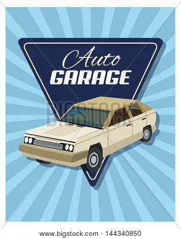Auto garage car automobile retro cartoon icon. Colorful and triangle design. Striped background. Vector illustration