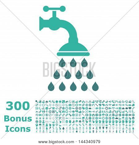 Shower Tap icon with 300 bonus icons. Vector illustration style is flat iconic bicolor symbols, cobalt and cyan colors, white background.
