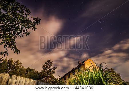 Night sky with stars and thick clouds