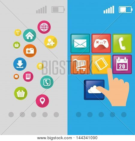 pointed wallpaper battery signal mobile apps application online icon set. Colorful and flat design. Vector illustration
