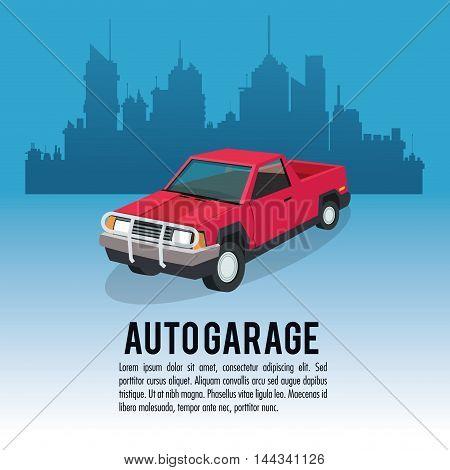 Auto garage car automobile retro cartoon icon. Colorful design. City background. Vector illustration