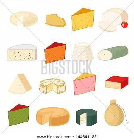 Delicious fresh cheese variety icon flat set isolated vector illustration. Dairy cheese varieties food and milk camembert piece cheese varieties. Different delicatessen gouda cheese varieties .