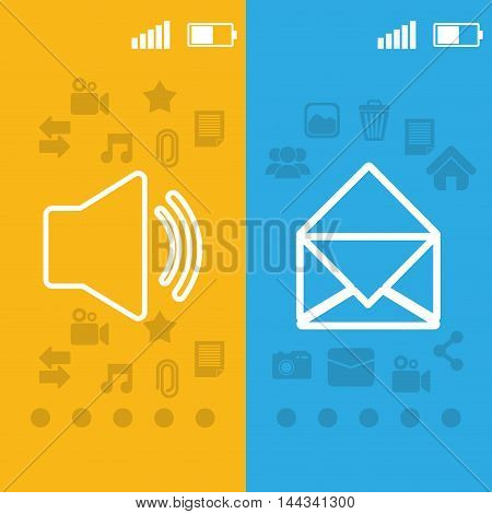 envelope sound pointed wallpaper battery signal mobile apps application online icon set. Colorful and flat design. Vector illustration