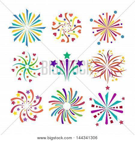 Festive firework bursting shape firework pictograms isolated.