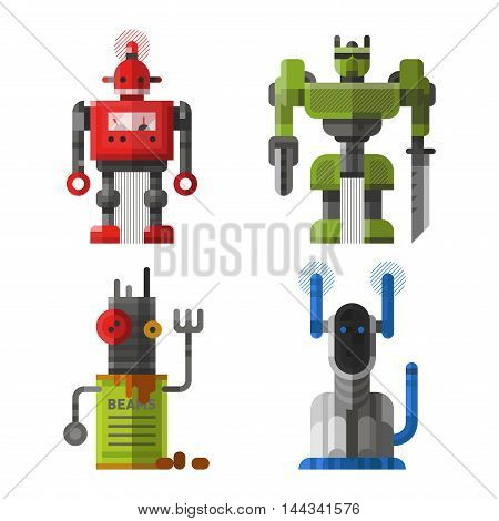 Set of cute vintage robots vector. Robots technology machine future science toys.
