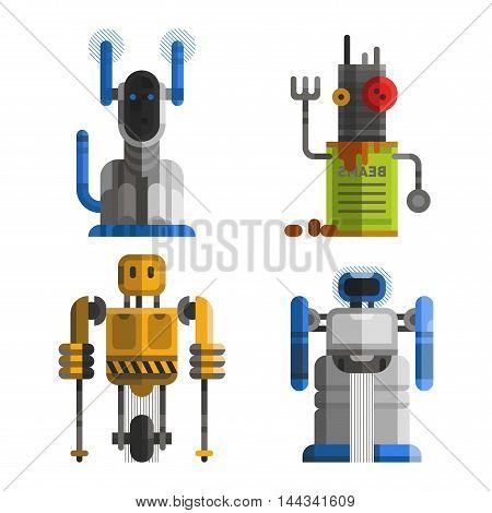 Set of cute vintage robots vector. Robots technology machine future science toys.