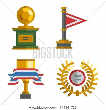 Trophy sports awards and sport awards in flat design style.