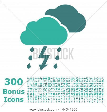 Thunderstorm icon with 300 bonus icons. Vector illustration style is flat iconic bicolor symbols, cobalt and cyan colors, white background.