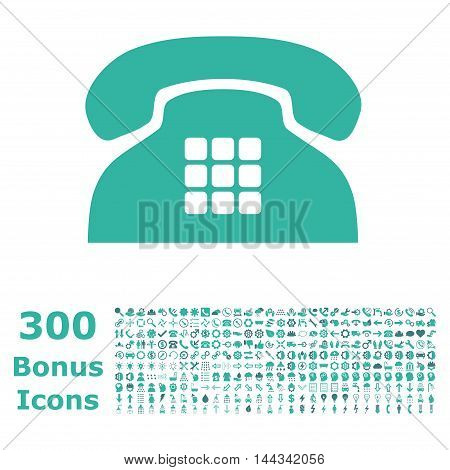 Tone Phone icon with 300 bonus icons. Vector illustration style is flat iconic bicolor symbols, cobalt and cyan colors, white background.