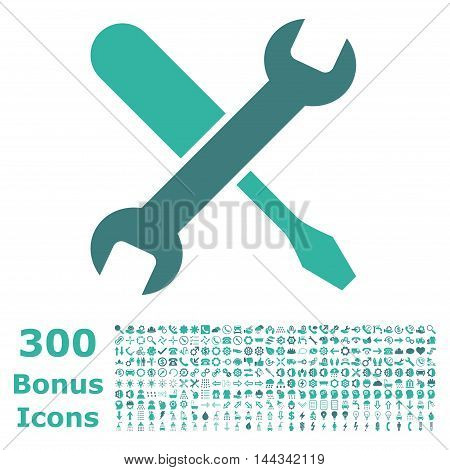 Tuning icon with 300 bonus icons. Vector illustration style is flat iconic bicolor symbols, cobalt and cyan colors, white background.