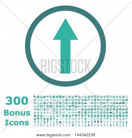 Up Rounded Arrow icon with 300 bonus icons. Vector illustration style is flat iconic bicolor symbols, cobalt and cyan colors, white background.