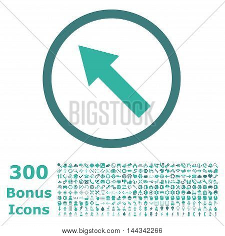 Up-Left Rounded Arrow icon with 300 bonus icons. Vector illustration style is flat iconic bicolor symbols, cobalt and cyan colors, white background.