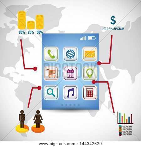 wallpaper infographic mobile apps application online icon set. Colorful and flat design. Vector illustration