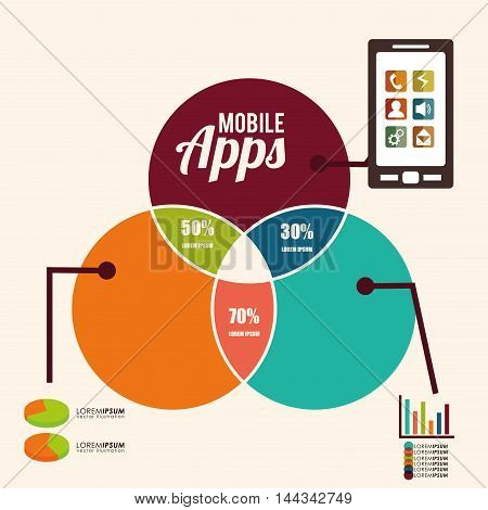 smartphone cellphone infographic mobile apps application online icon set. Colorful and flat design. Vector illustration