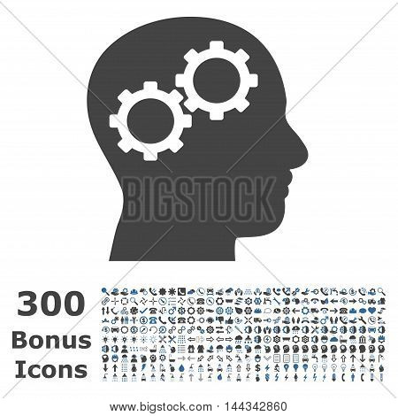 Brain Gears icon with 300 bonus icons. Vector illustration style is flat iconic bicolor symbols, cobalt and gray colors, white background.