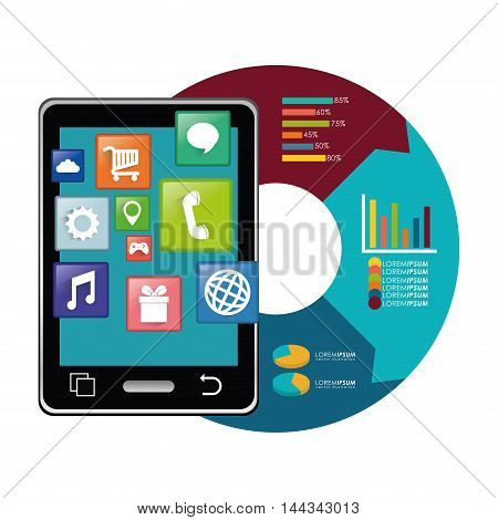 tablet infographic mobile apps application online icon set. Colorful and flat design. Vector illustration