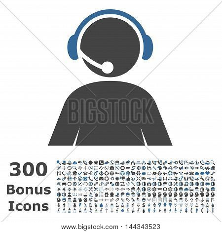 Call Center Operator icon with 300 bonus icons. Vector illustration style is flat iconic bicolor symbols, cobalt and gray colors, white background.