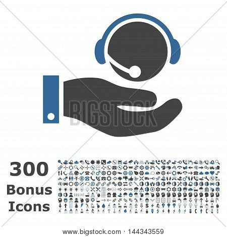 Call Center Service icon with 300 bonus icons. Vector illustration style is flat iconic bicolor symbols, cobalt and gray colors, white background.