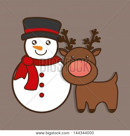 snowman reindeer deer cartoon merry christmas decoration celebration con. Colorful and flat design. Vector illustration