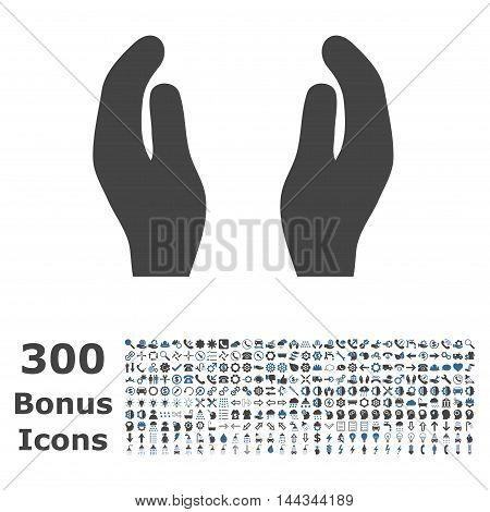 Care Hands icon with 300 bonus icons. Vector illustration style is flat iconic bicolor symbols, cobalt and gray colors, white background.
