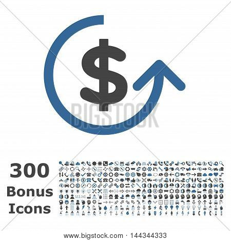 Chargeback icon with 300 bonus icons. Vector illustration style is flat iconic bicolor symbols, cobalt and gray colors, white background.