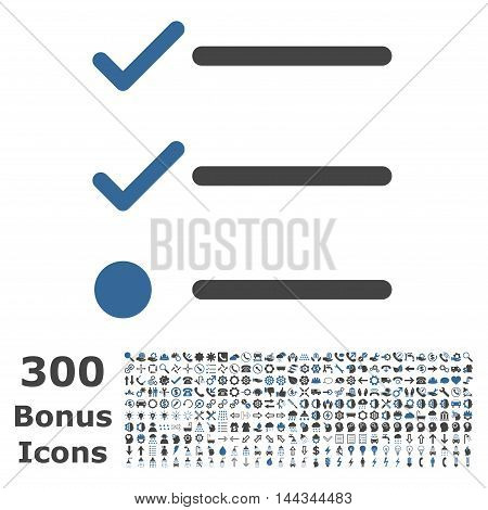 Checklist icon with 300 bonus icons. Vector illustration style is flat iconic bicolor symbols, cobalt and gray colors, white background.
