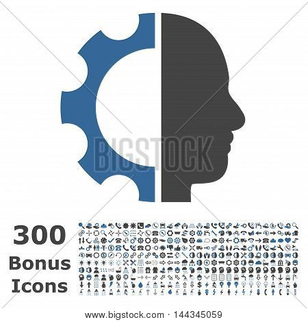 Cyborg Gear icon with 300 bonus icons. Vector illustration style is flat iconic bicolor symbols, cobalt and gray colors, white background.