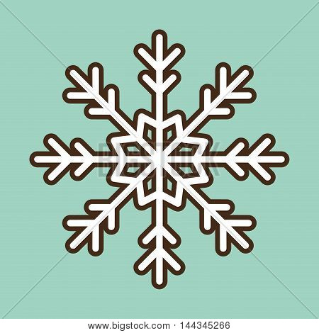 white snowflake merry christmas decoration celebration con. Colorful and flat design. Vector illustration